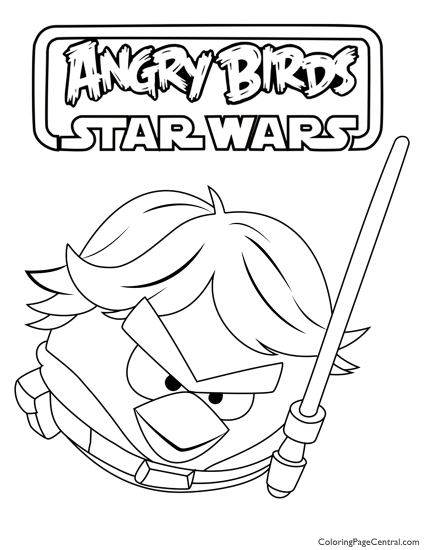 850x1100 Angry Birds Star Wars Luke Skywalker Coloring Page Coloring