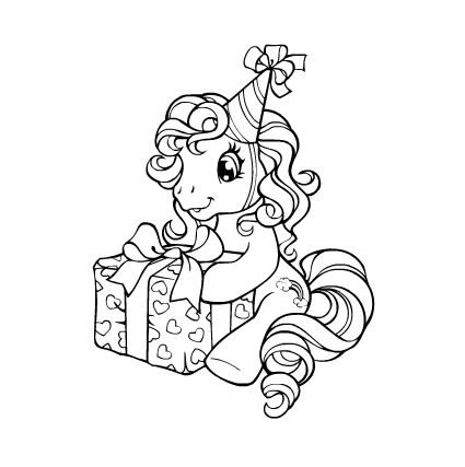 425x427 My Little Pony Happy Birthday Coloring Page M And M Coloring Pages