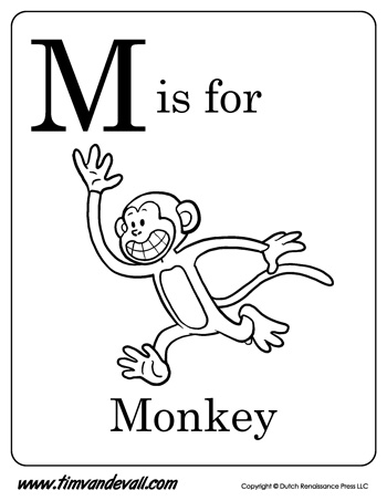 350x453 M Is For Monkey Letter M Coloring Page Pdf