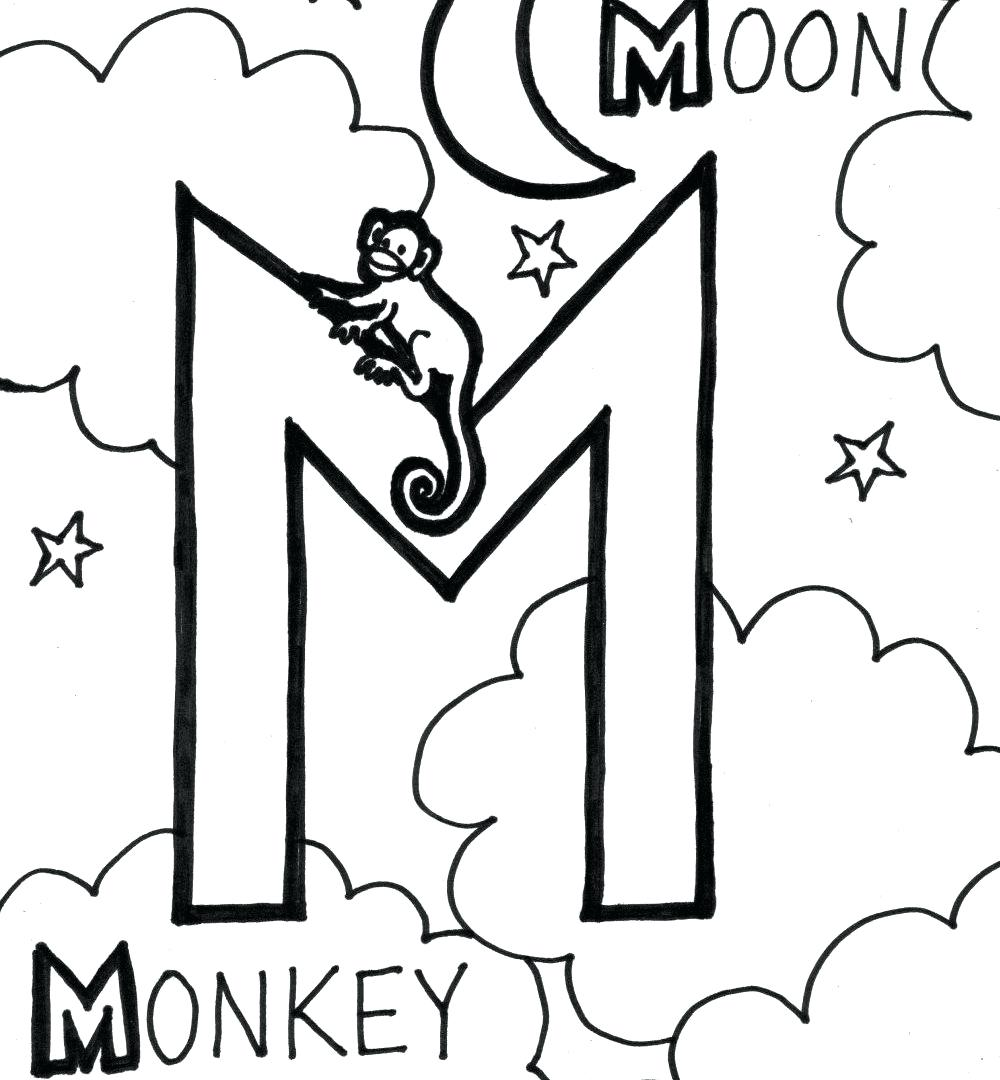 1000x1080 coloring page letter m coloring page cool pages for monkey