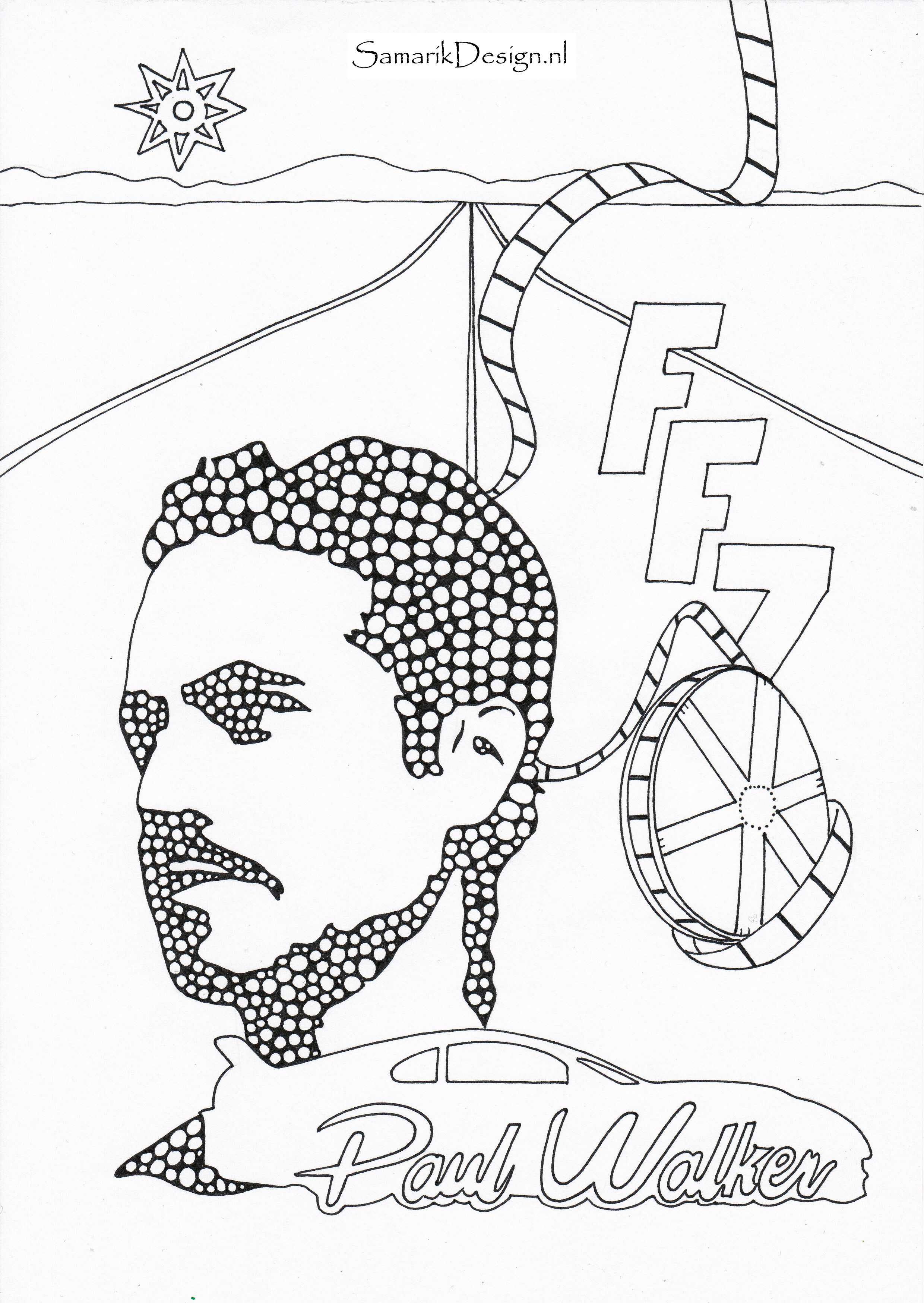 2480x3496 Paul Walker Famous People Coloring Pages To Print