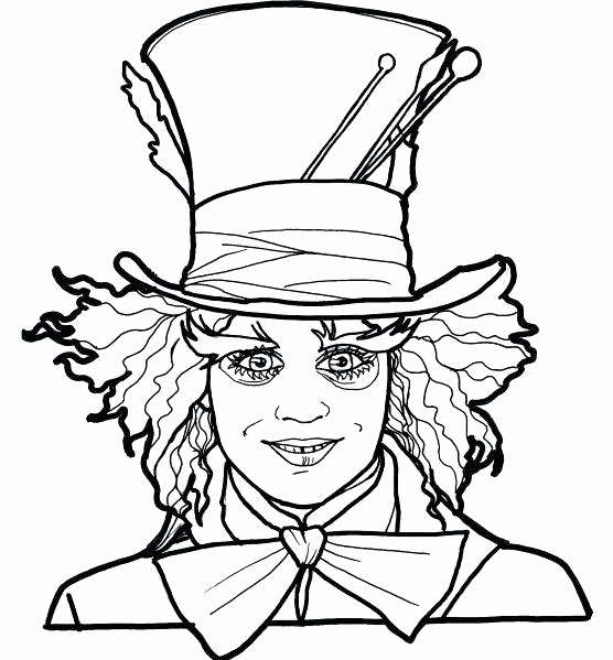 556x599 Fresh Of Mad Hatter Hat Coloring Page Photograph