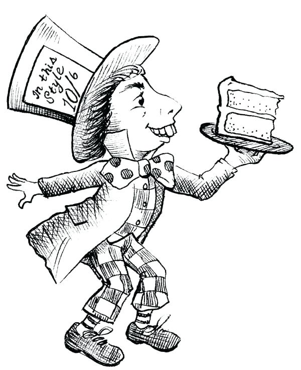 600x736 Mad Hatter Coloring Pages Mad Hatter With Slice Of Cake Coloring