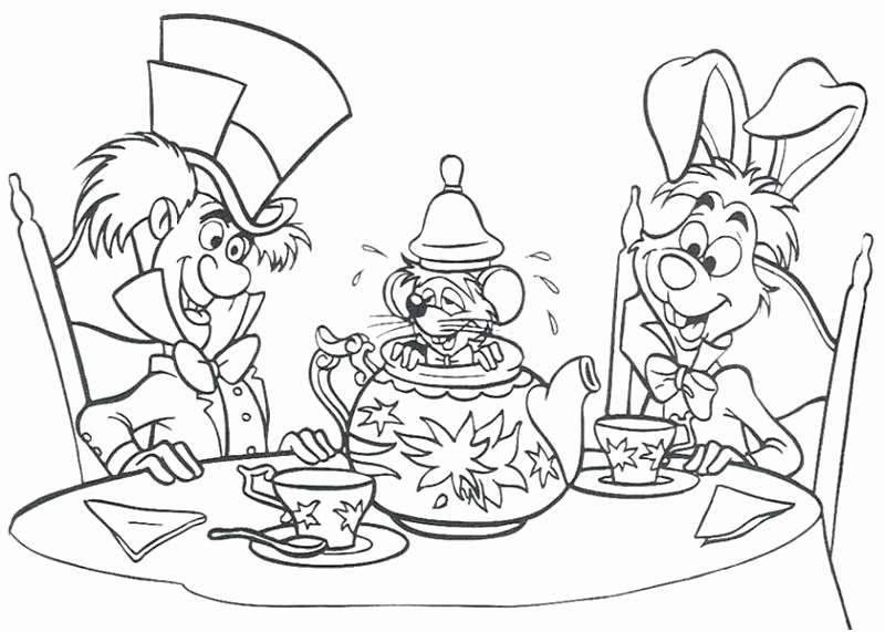 800x571 Mad Hatter Coloring Pages Stunning Mad Hatter Drawing Coloring Tea