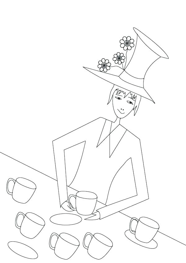 600x849 Mad Hatter Hat Coloring Page