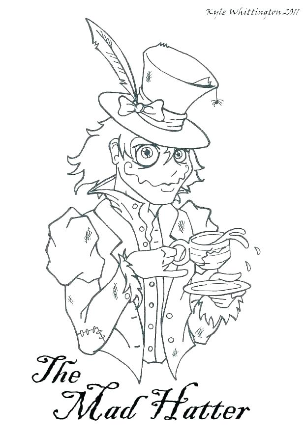 618x882 Mad Hatter Coloring Pages