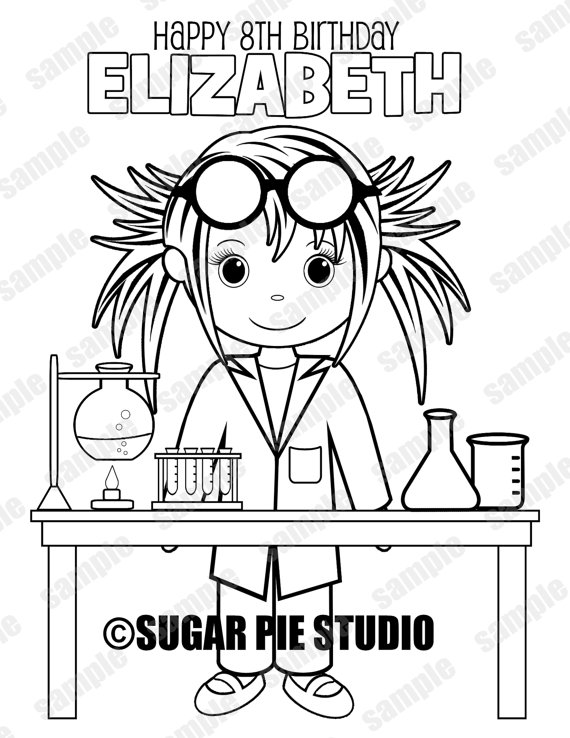 570x738 Mad Scientist Science Coloring Page Birthday Party Favor