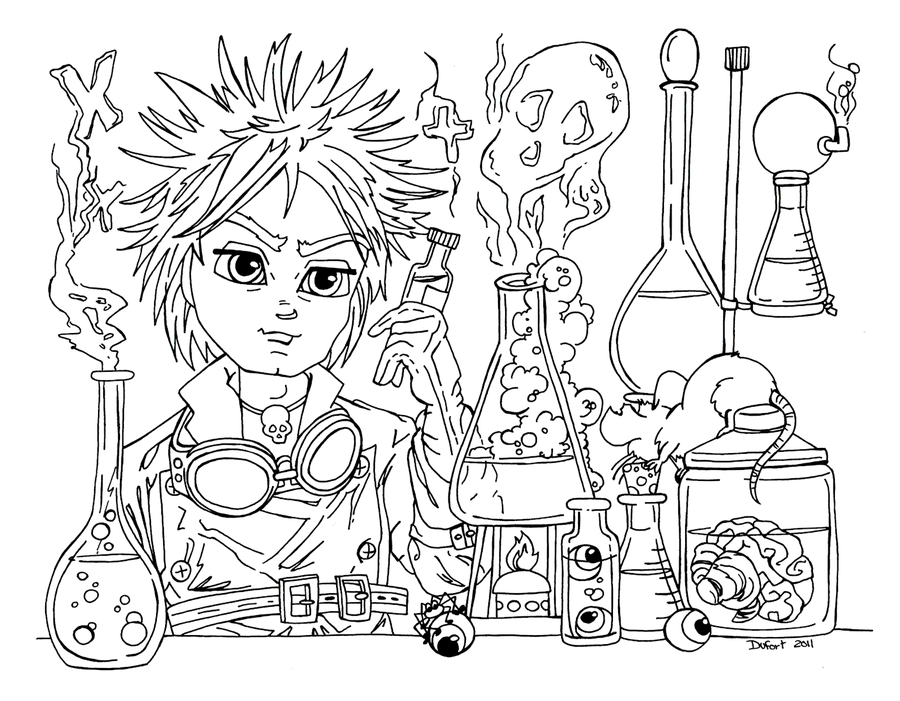 900x701 Mad Scientist Coloring Pages