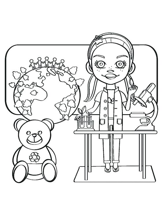 564x730 Scientist Coloring Page A Smart Science Girl Coloring Page Online