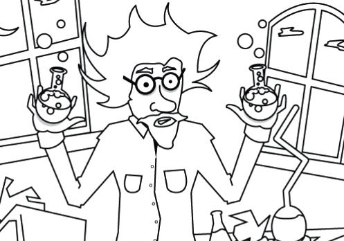 497x348 Scientist Coloring Page H H Mad Scientist Scientist Coloring Pages