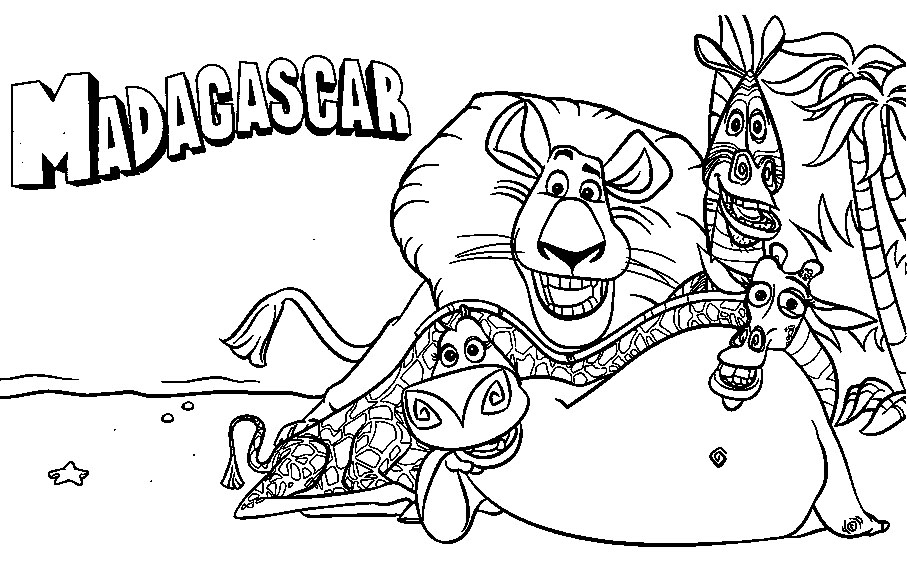 907x565 Madagascar Coloring Pages Printable Inside Decor
