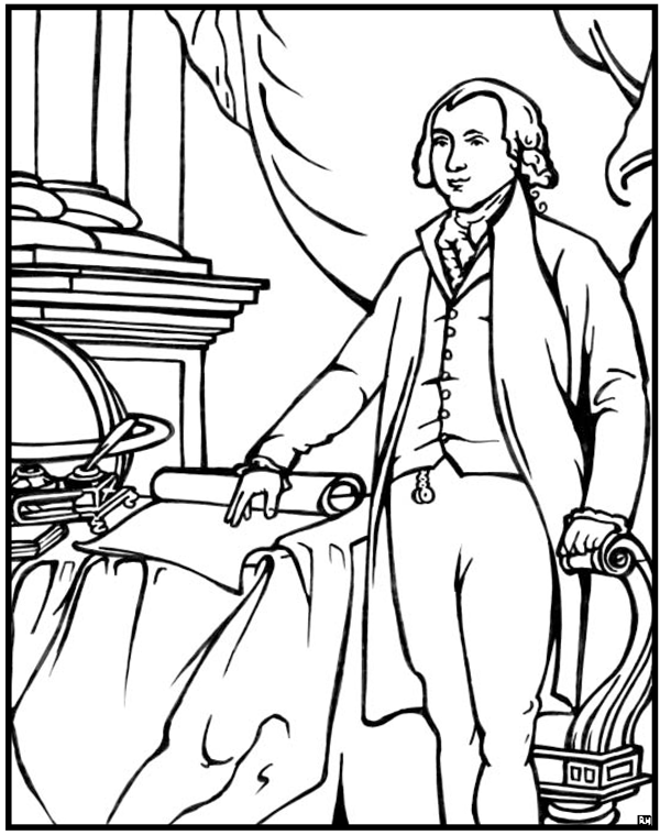 600x759 President James Madison Coloring Page