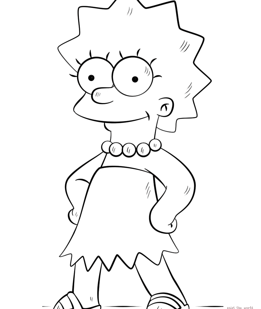 889x1050 Bart Lisa Simpson Coloring Pages Print Free For Toddler And Family