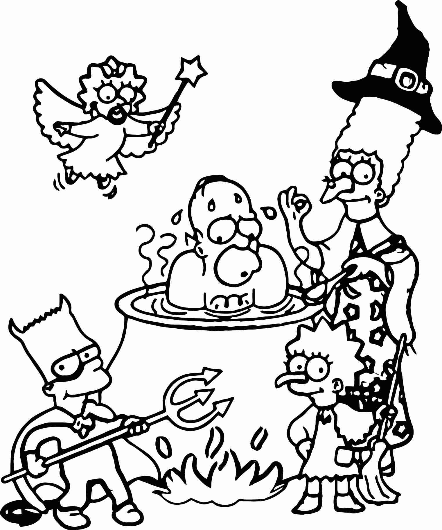 1522x1824 The Simpsons Coloring Pages Free Printable Bebo General To Print
