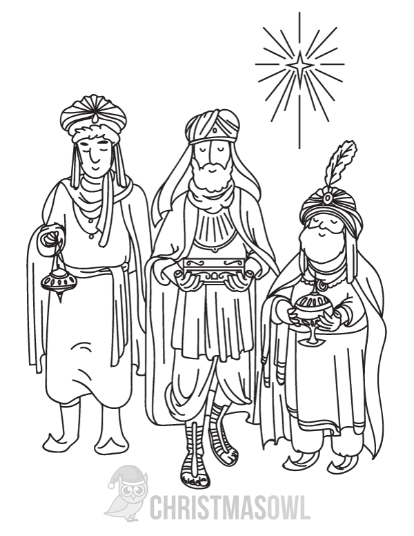 600x776 Free Three Wise Men Coloring Page