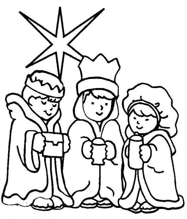 600x705 Three Wise Men On Christmas Day Coloring Page