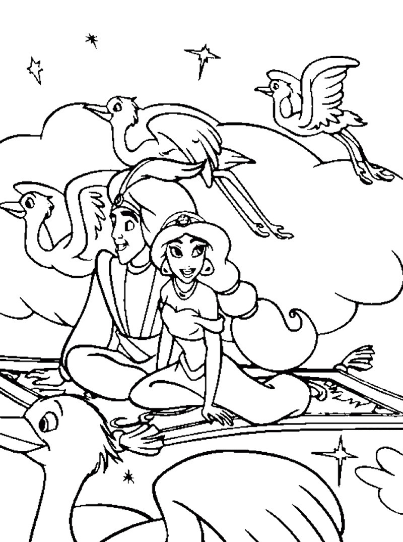 800x1075 Aladdin And Jasmine Flying With Magic Carpet Coloring Page