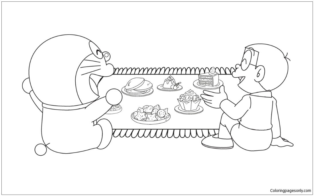 1096x684 Doraemon S Magic Carpet Coloring Page