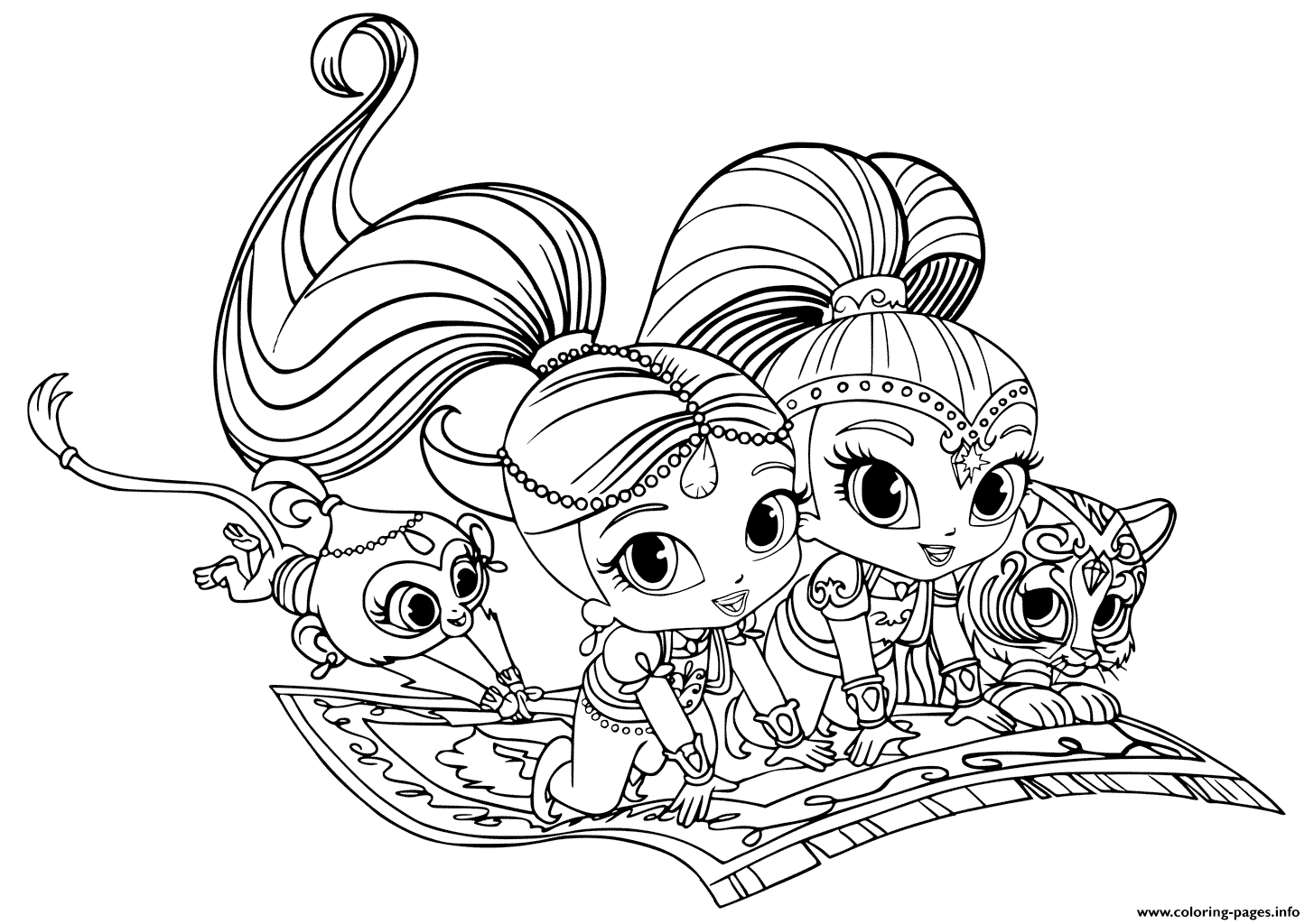 1455x1024 Print Shimmer And Shine Pets Coloring Pages Printable Coloring