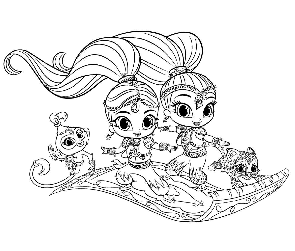 1200x1024 Shimmer And Shine On Magic Carpet Coloring Pages