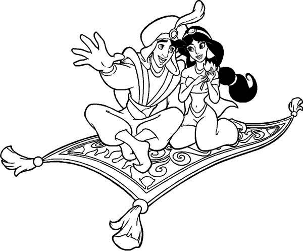 600x497 Aladdin And Jasmine Riding The Magic Carpet Coloring Page