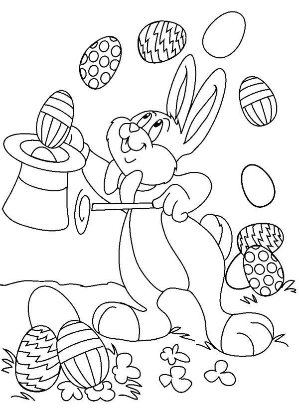 600x825 Easter Bunny Magically Expelled Eggs From Magic Hat Coloring Page