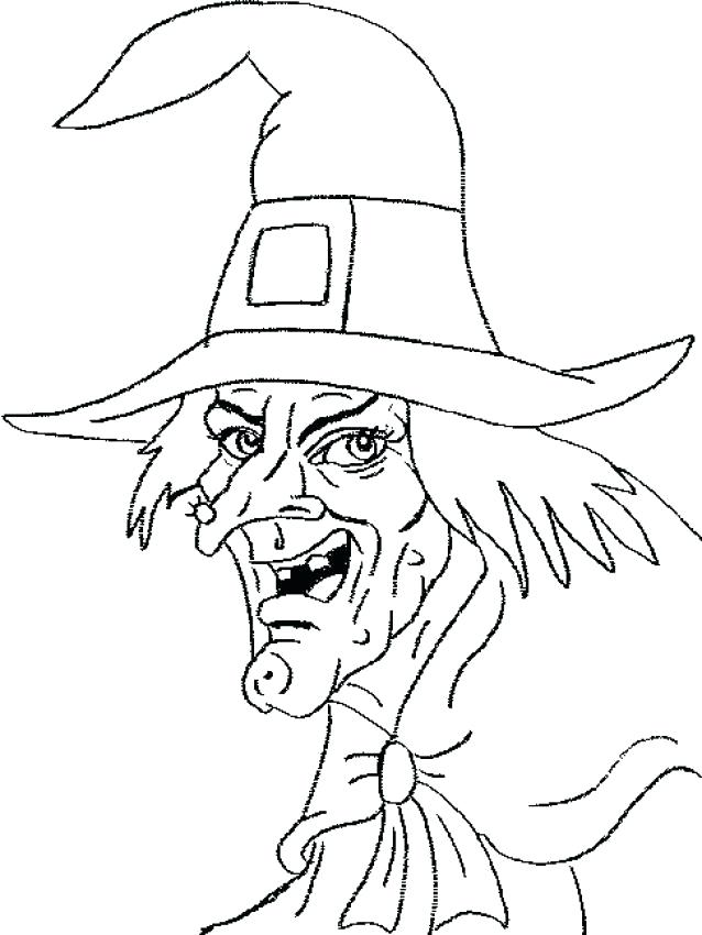 638x850 Witch Source Magic Broomstick Scary Head Coloring Page Holiday