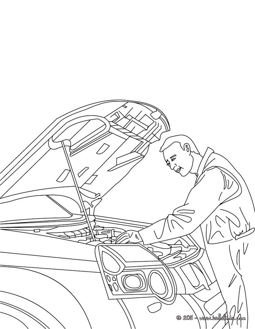 820x1060 Mechanic Job Coloring Page Amazing Way For Kids To Discover Job