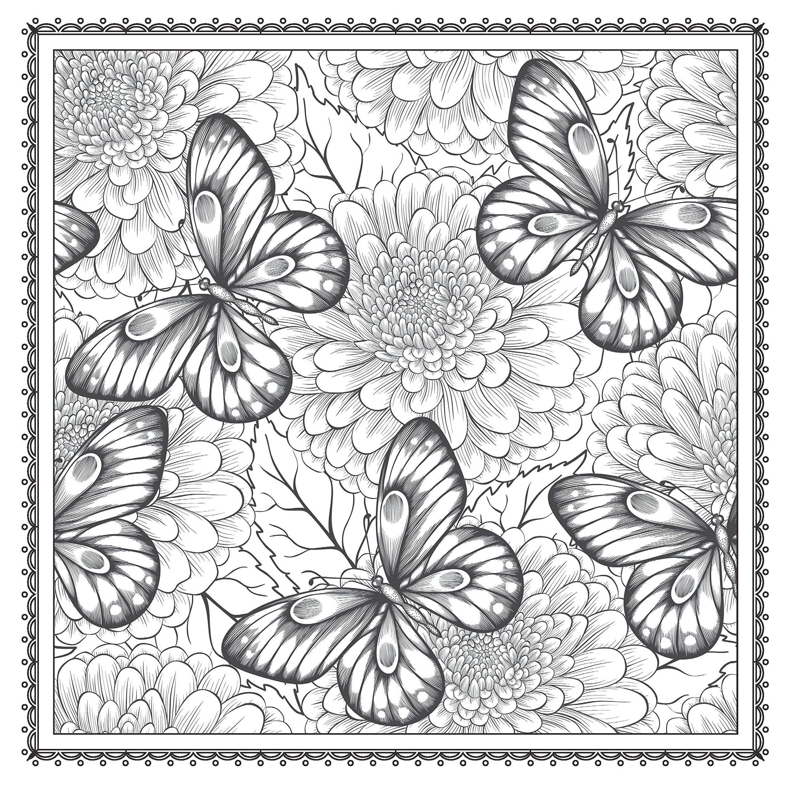 2551x2560 Blossom Magic Beautiful Floral Patterns Coloring Book For Adults