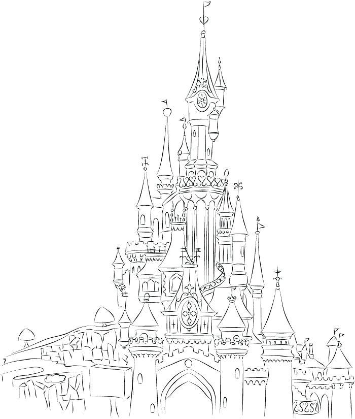 700x825 Disney Castle Coloring Pages Castle Line Art