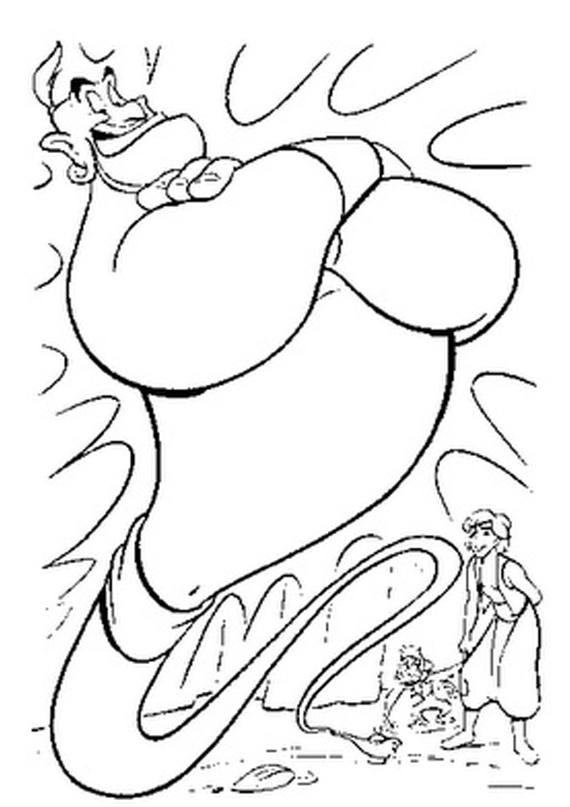 826x1169 Ginie Comes Out Of Magic Lamp Free Coloring Pages