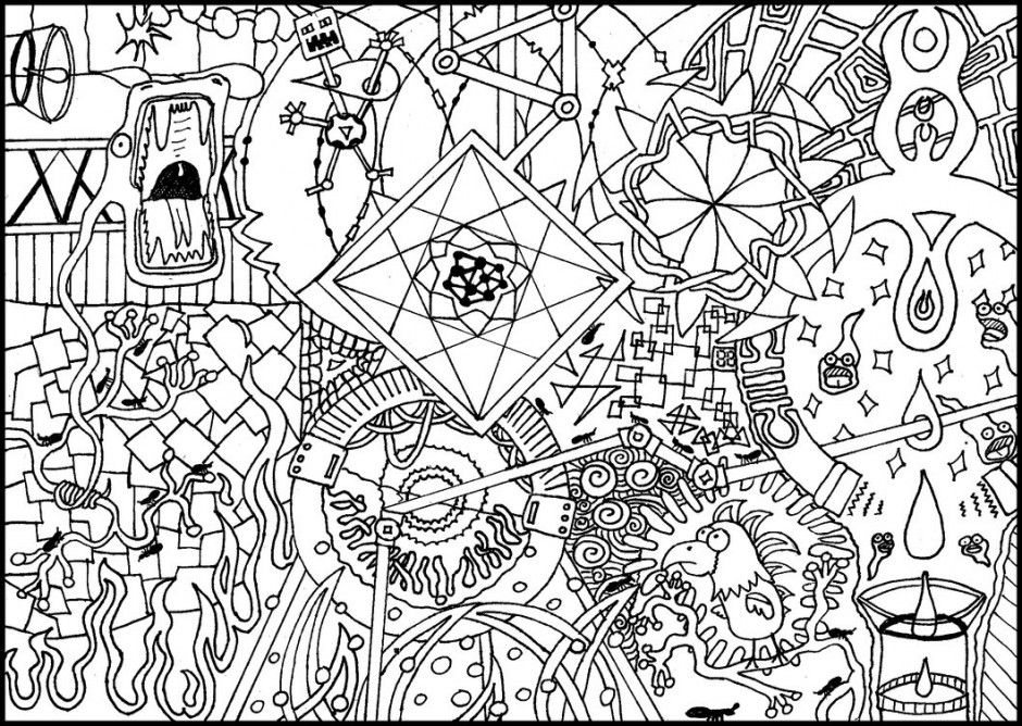 940x668 Psychedelic Coloring Pages Psychedelic Mushroom Coloring Pages