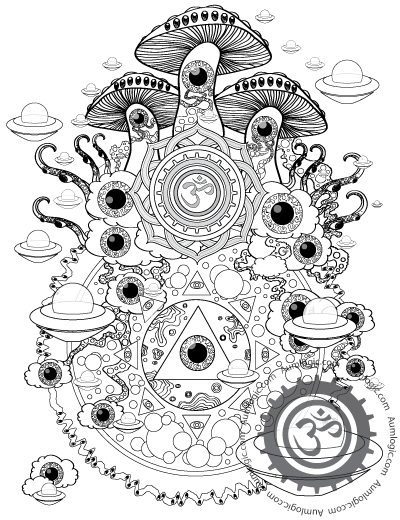 400x520 Psychedelic Mushroom Coloring Pages Magic Mushroom Colorin