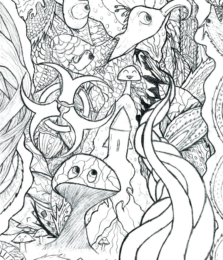 772x900 Trippy Coloring Pages Mushroom Coloring Pages Adults Psychedelic
