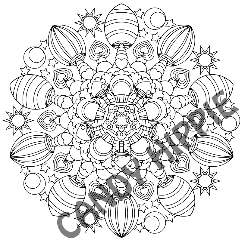813x808 Magic Mushrooms Printable Mandala Coloring Page