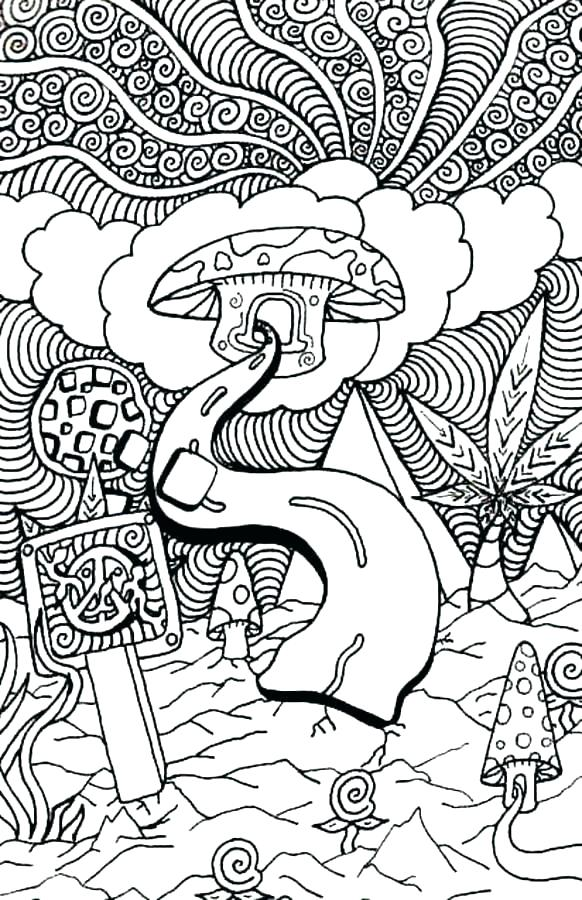 582x900 Hippie Coloring Pages Psychedelic Book Also Colouring Mushroom