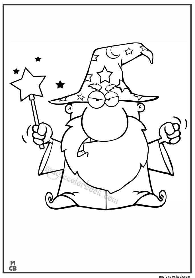 685x975 Angry Wizard Waving With Magic Wand Coloring Pages