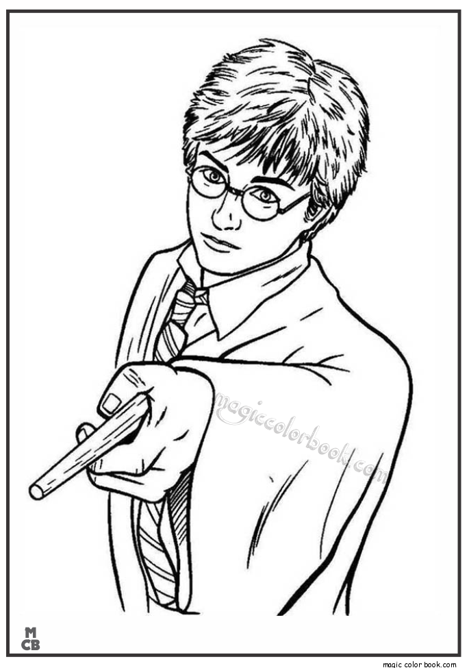 685x975 Harry Potter Pointing His Magic Wand Coloring Page