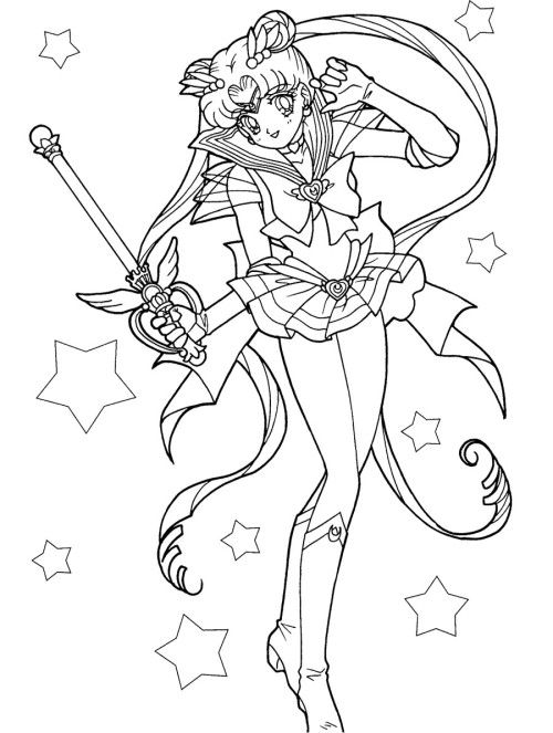 500x663 Sailor Moon Carries A Magic Wand Coloring Pages Kids Coloring