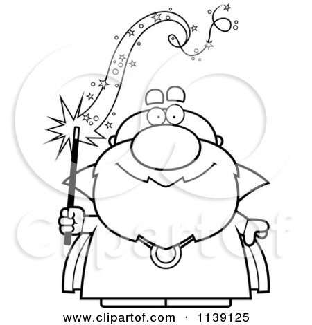 450x470 Cartoon Clipart Of A Black And White Bald Wizard Holding A Magic