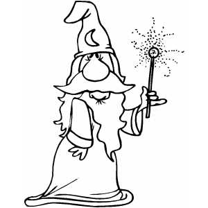 300x300 Wizard Showing Magic Wand Effect Coloring Page