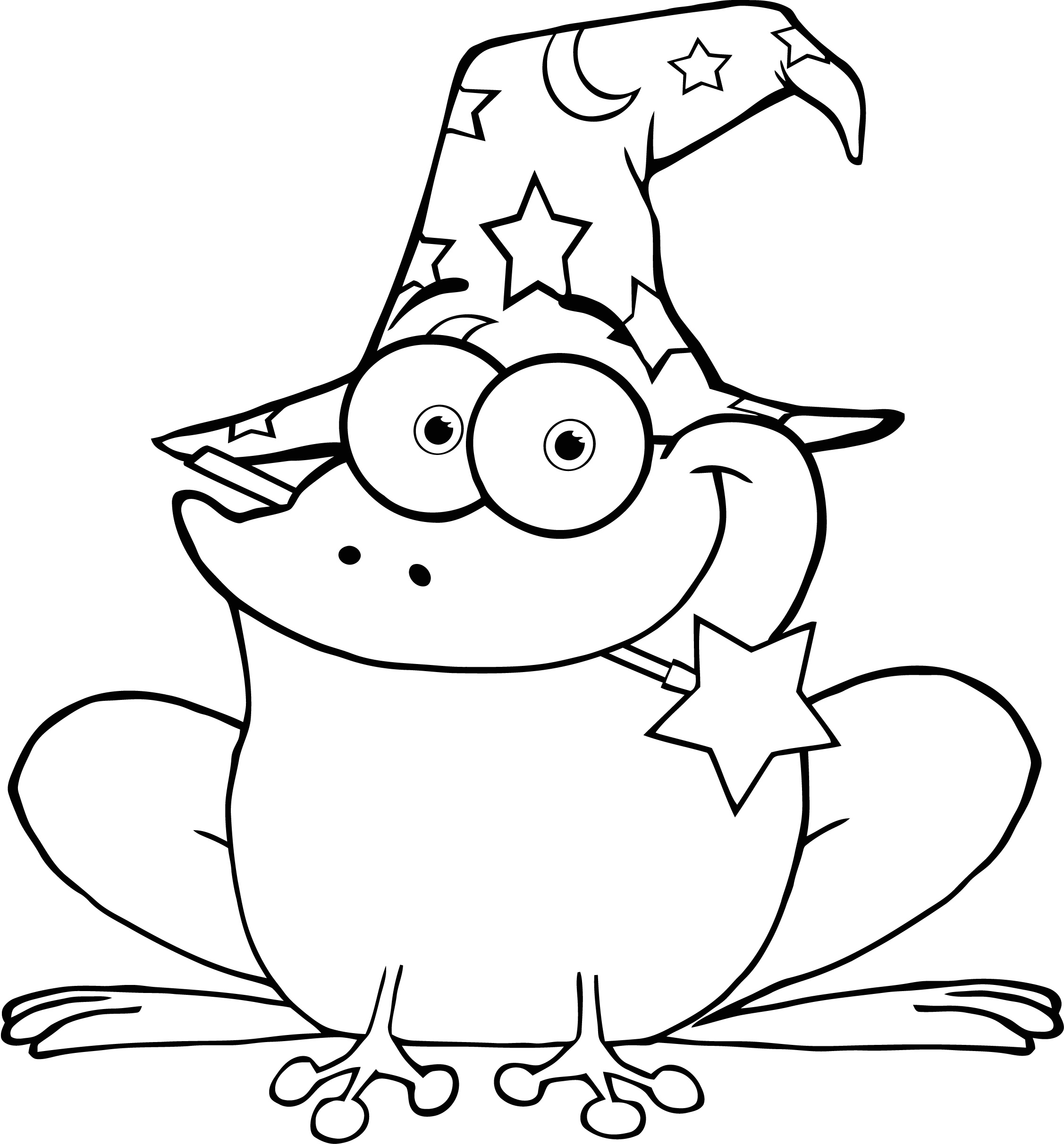 2254x2424 Colour Page Of Wizard Frog With A Magic Wand In Mouth