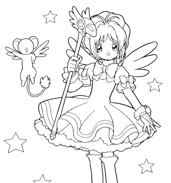 590x630 Digital Dunes Sakura And Magic Wand Coloring Pages