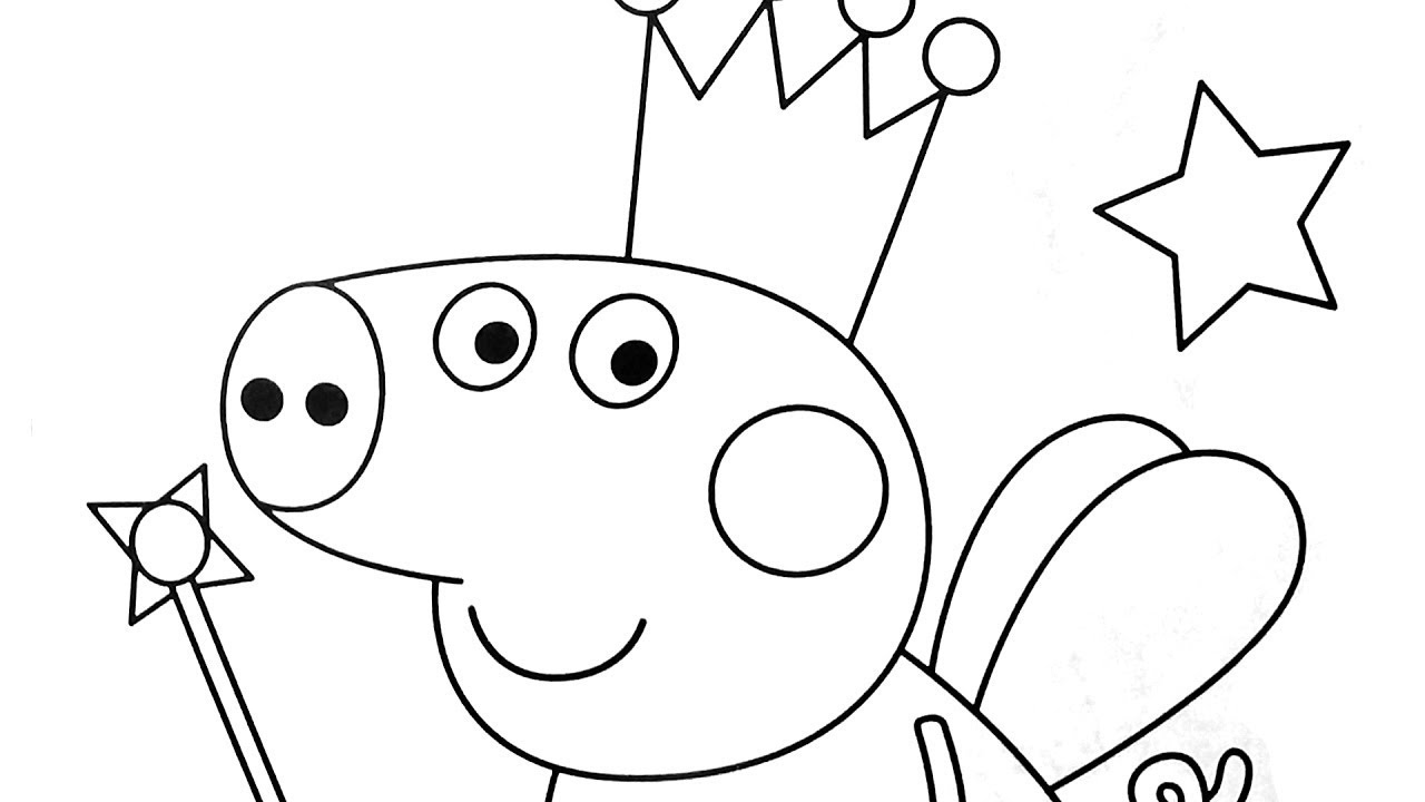 1280x720 Coloring Peppa Pig Princess And Magic Wand Coloring Book Coloring