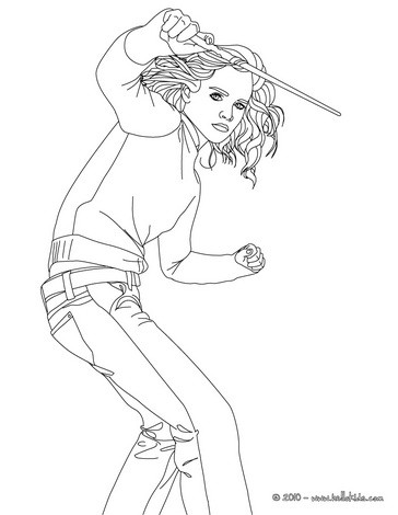 364x470 Emma Watson With Hermione Granger's Magic Wand Coloring Page More