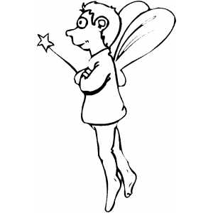 300x300 Fairy Boy With Magic Wand Coloring Page