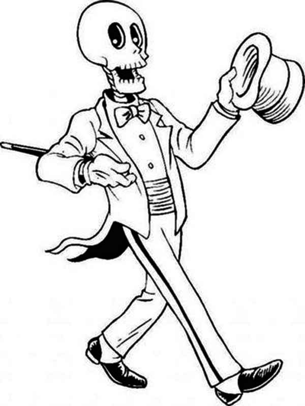 600x797 Magician Skeleton On The Show Coloring Page
