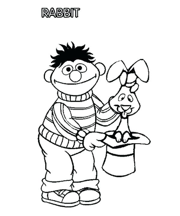 600x719 Ernie Coloring Pages And Magician Hat Fill With Rabbit In Sesame