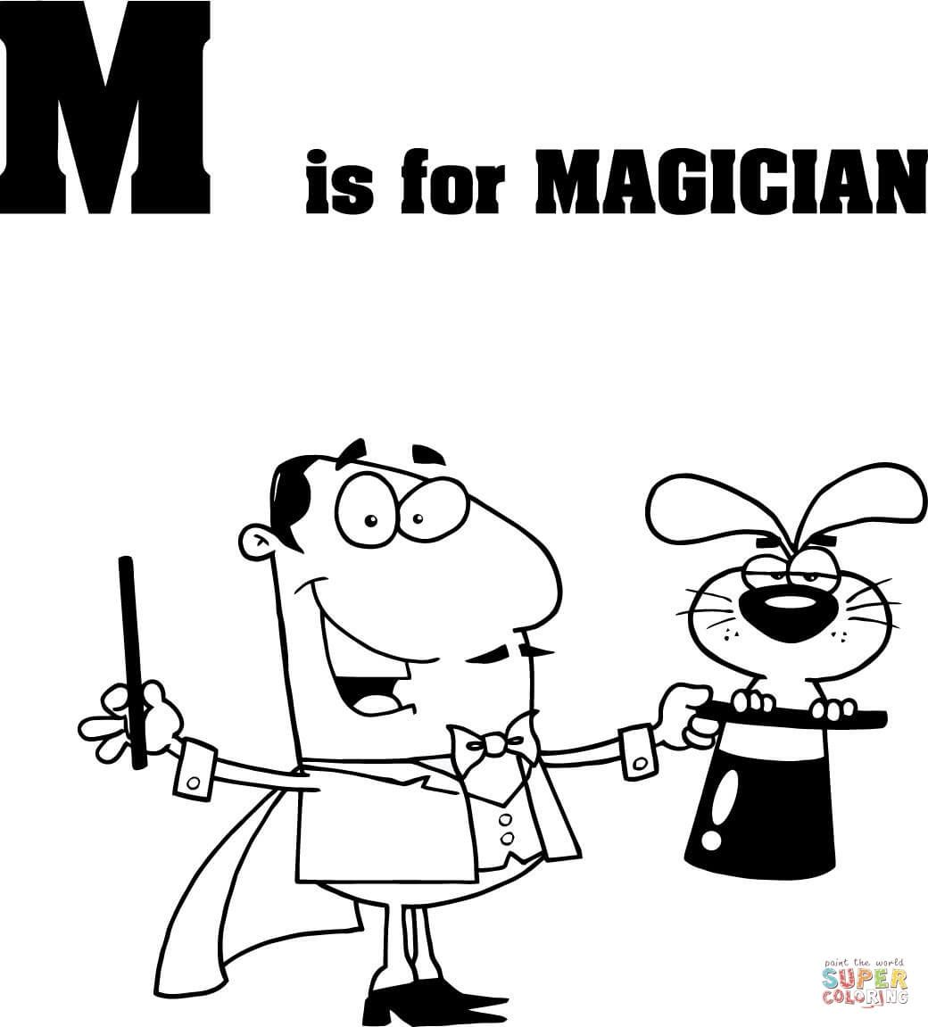 1040x1151 Letter M Is For Magician Coloring Page From Learn English Alphabet