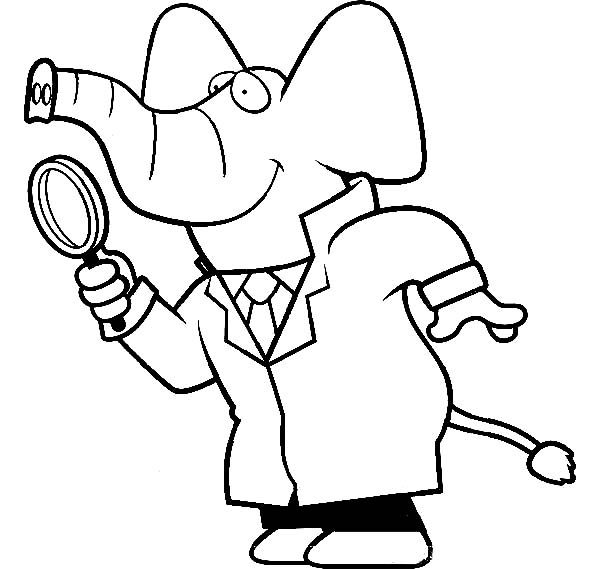 600x569 Cartoon Of A Elephant Detective Using A Magnifying Glass Coloring